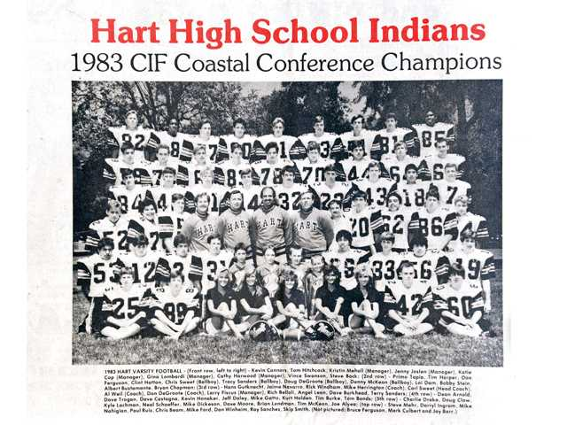 A team photo of the 1983 CIF Coastal Conference Champion Hart Indians appeared in The Signal Newspaper in 1983.