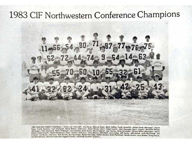 A team photo of the 1983 CIF Northwestern Conference Champion Canyon Cowboys appeared in The Signal Newspaper in 1983.