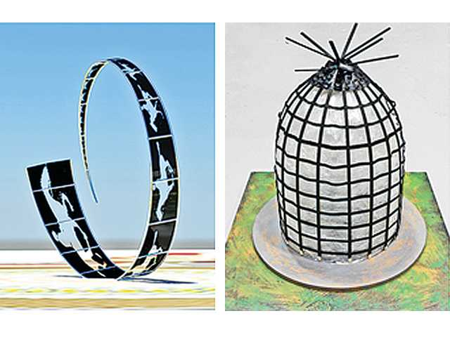 "These photos show the two finalists' proposed art installations for the roundabout being built in Newhall. Santa Clarita Arts commissioners said they would recommend either ""Western Reel"" (left) by Michael Clapper or ""Facing the Sun, Facing the Future"" (right) by Matthew Duffy to the City Council after the public weighs in."