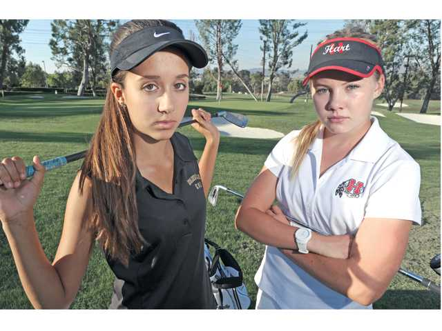 Golden Valley's Elisa Pierre, left, and Hart's Katie Corr both finished top 10 individually in the Foothill League in 2012. Photo by Dan Watson/The Signal