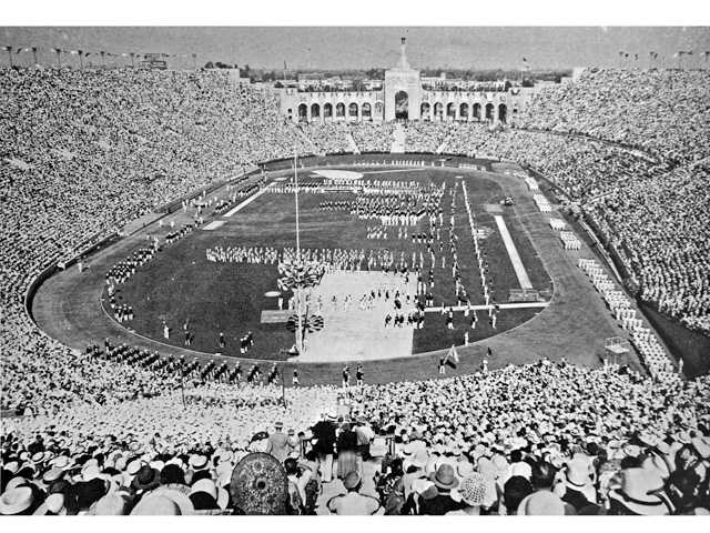 Opening ceremonies of the 1932 Summer Olympics at the Coliseum in Los Angeles, the first time L.A. hosted the Olympics. Photo by George R. Watson, Watson Family Photo Archive