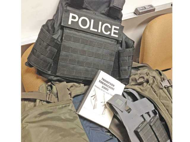 Some of the tactical equipment recovered at the Simi Valley home of a man suspected of being behind a theft from a firearms manufacturer in Castaic earlier this month. Photo courtesy of the Santa Clarita Valley Sheriff's Station.
