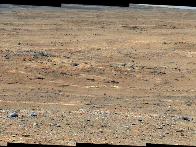 NASA's Curiosity rover shows a view of Gale Crater near the Mars equator. Experiments by Curiosity found no trace of methane gas in the Martian atmosphere.