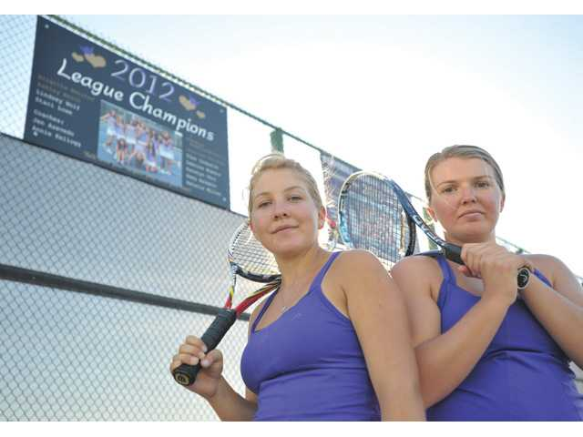 Valencia's doubles pairing of sisters Lindsey Wolf, left, and Lauren Wolf is part of a lineup that could go a long way in deciding the Foothill League title.