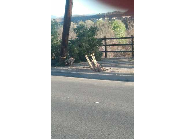 A power pole was sheared off at the base when it was hit by a car early Wednesday on Soledad Canyon Road. Photo courtesy of Santa Clarita Valley Sheriff's Station