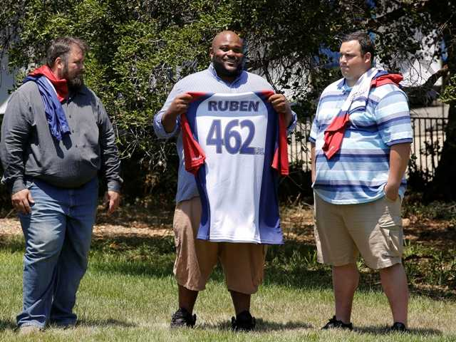 "David Brown, left, Ruben Studdard, and Hap Holmstead on NBC's ""The Biggest Loser,"" in Calbasas. Studdard, season two ""American Idol"" winner is the 15th season's heaviest contestant at 462 pounds."