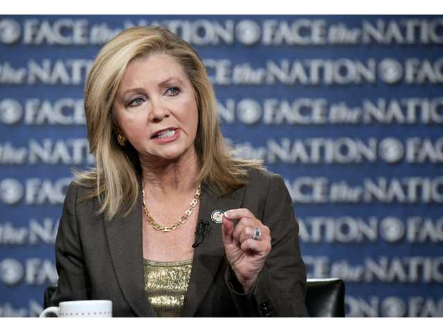 "This image shows Rep. Marsha Blackburn, R-Tenn., speaking with Bob Schieffer on ""Face the Nation"" on Sunday in Washington."