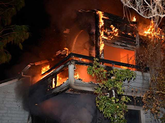 Four people were injured in a condominium fire in Canyon Country early Monday morning. Rick McClure/For The Signal