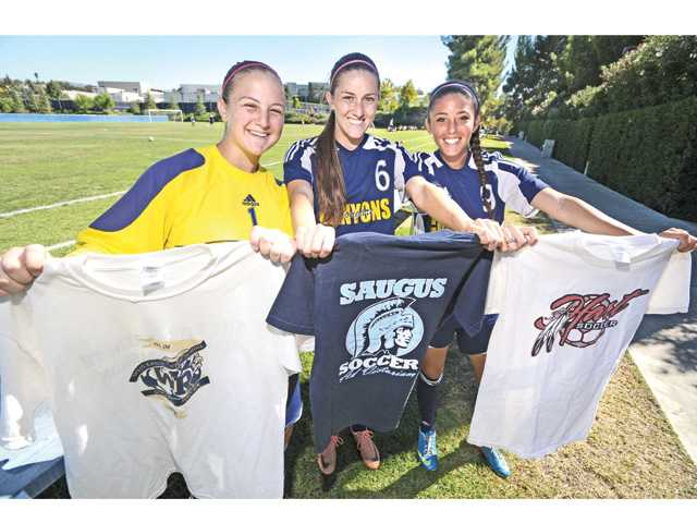 Hart graduate Allie Leon, left, Saugus graduate Stacey Atwater, center, and West Ranch graduate K.T. Koury, right, were the only returning starters from COC's 2012 conference championship squad.