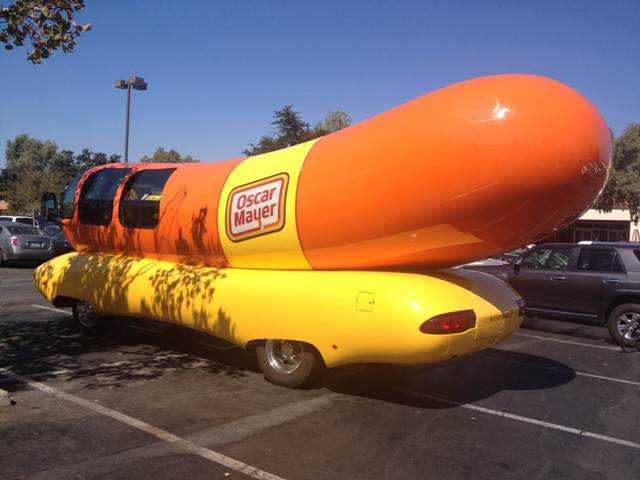 The Wienermobile was parked outside Target in Valencia on Thursday. Signal photo by Eduardo Oliden Jr.