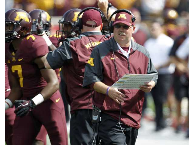Minnesota coach Jerry Kill watches his team during the third quarter against San Jose State in Minneapolis on Saturday.