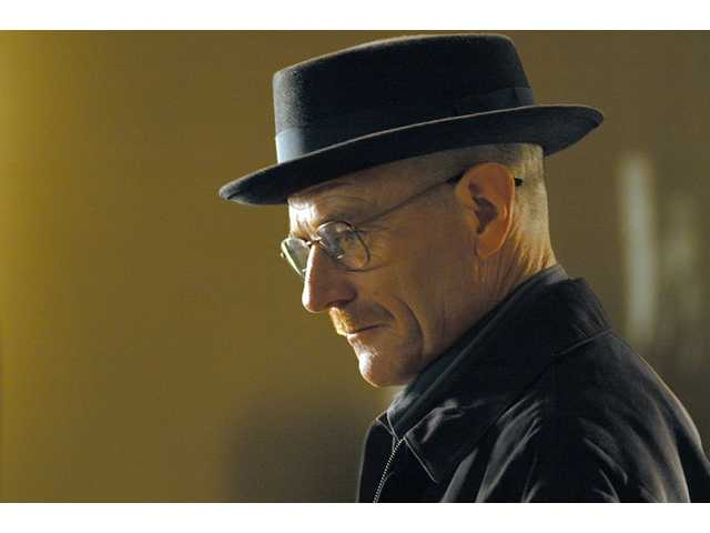 "This image released by AMC shows Walter White, played by Bryan Cranston, wearing a Bollman 1940's pork pie hat in a scene from the second season of ""Breaking Bad."""