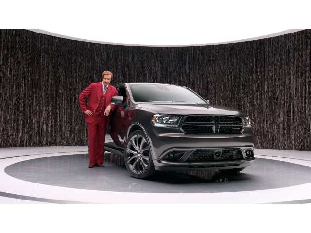 "This undated photo provided by Chrysler shows Will Ferrell as ""Anchorman"" character Ron Burgundy in an advertisement for the 2014 Dodge Durango."