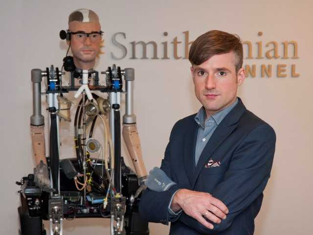 "Bertolt Meyer, a social psychologist for the University of Zurich, poses a Bionic Man and is featured in the Smithsonian Channel original documentary, ""The Incredible Bionic Man."""