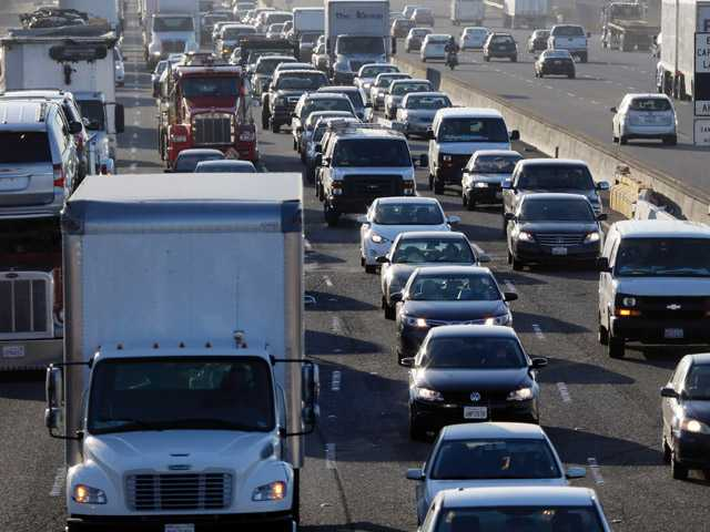 Highway 880 is packed with commuters on Friday in Oakland. Commuters in the San Francisco Bay Area got up before dawn on Friday and endured heavy traffic on roadways, as workers for the region's largest transit system walked off the job for the second time in four months