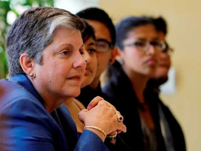 University of California President Janet Napolitano has lunch at the Bruin Plate with students at UCLA in Westwood, Calif., on Friday, Oct. 11, 2013. Napolitano toured UCLA for the first time, meeting privately with administrators, faculty and students.