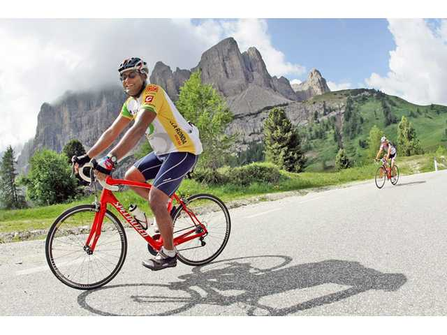 Saugus resident Nabeel Atique rides in the Dolomites in Italy. Photo courtesy of Atique.