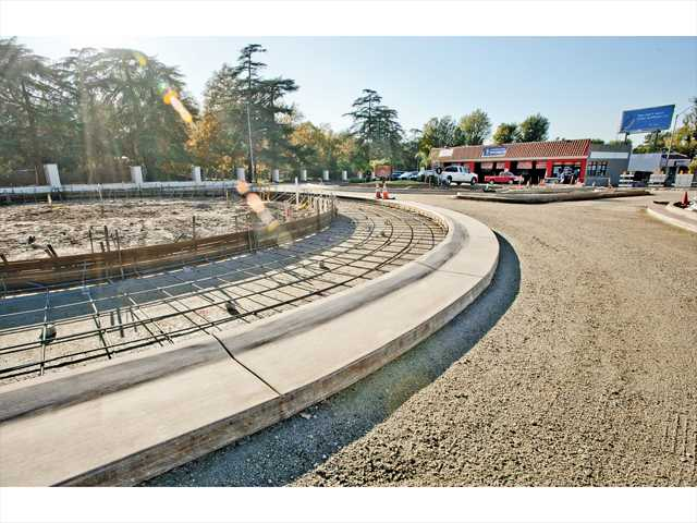 The Newhall roundabout along Newhall Avenue near Fourth Street is shown under construction on Monday. Photo by Charlie Kaijo.