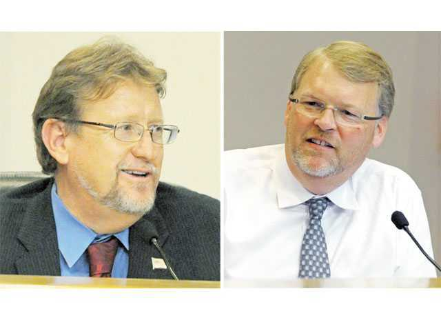 Santa Clarita City Councilmen TimBen Boydston, left, and Frank Ferry