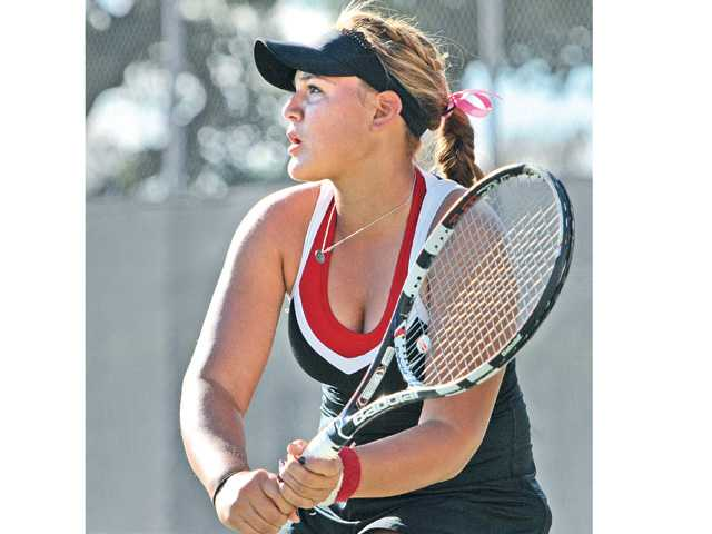 Hart sophomore Natalia Munoz competes against Valencia on Tuesday at Hart High.