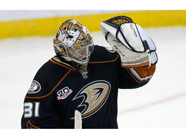 Anaheim Ducks goalie Frederik Andersen celebrates after the final whistle as the Ducks defeated the Senators 2-1.