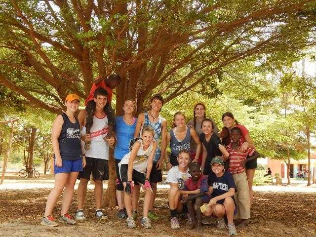 Claire Campbell, standing third from the left, with 10 other high school students from around the United States working in the rural village of Palmarin. Courtesy photo