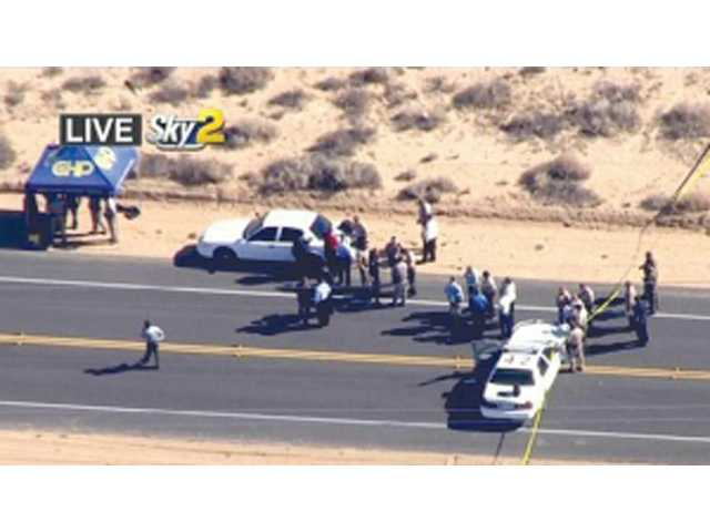 This video image provided by KCBS-TV shows the site of a shooting Friday in Ridgecrest.
