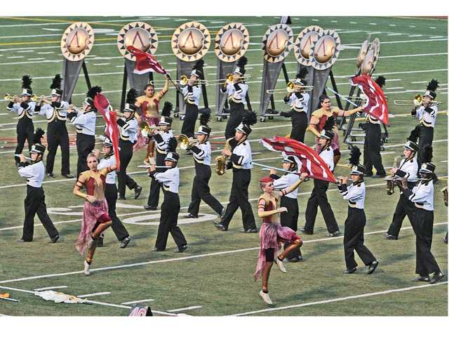 "The Golden Valley Grizzly marching band and color guard performs to the music of ""300 — The Last Stand"" at the 30th annual Rampage Field Show tournament held at College of the Canyons in Valencia on Saturday."