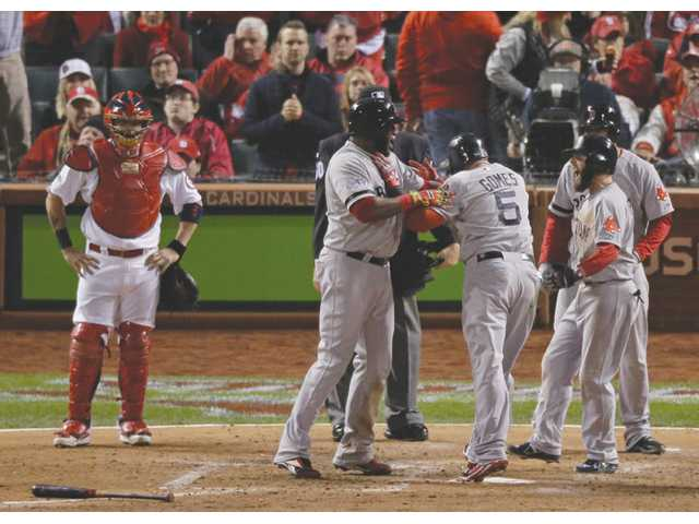 Red Sox beat Cards to even World Series