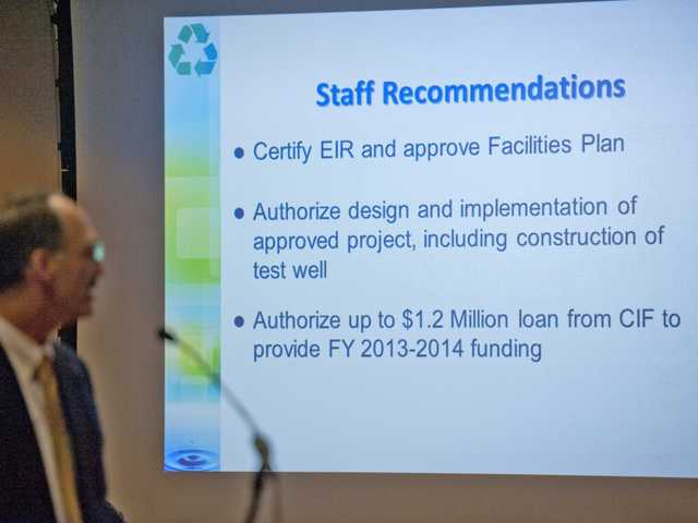 Phil Freiss, department head of sanitation districts, gives a presentation on the sanitation districts' recommendations for chloride compliance at City Hall on Monday. Photo buy Charlie Kaijo.