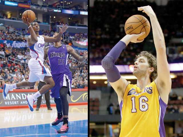 Chris Paul, left, and the Los Angeles Clippers face Pau Gasol, right, and the Los Angeles Lakers tonight at 7:30 p.m. in both teams' season opener.