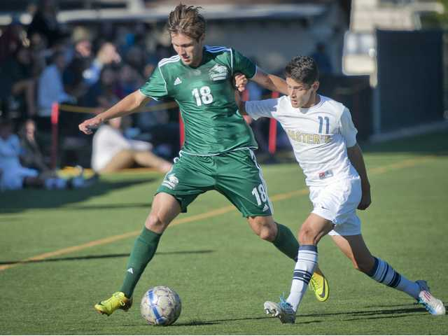 Concordia forward, Alex Antonescu, spars for the ball with The Master's College midfielder, Jorge Serrano, at The Master's College on Wednesday.