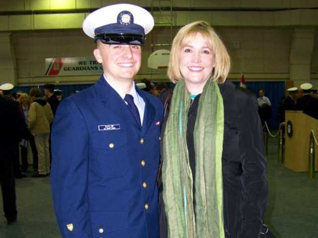 Dennis Saylor with her son, Michael, at his U.S. Coast Guard boot camp graduation in Cape May, New Jersey on March 6, 2010.