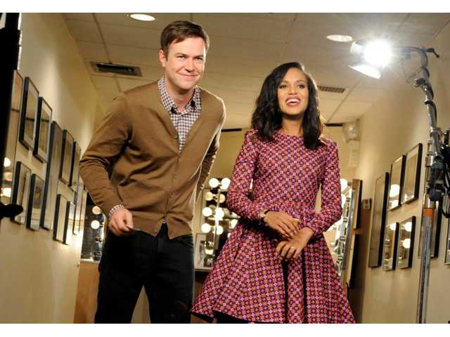 "This Oct. 29, 2013 photo released by NBC shows actress Kerry Washington, right, with cast member Taran Killam during a promotional shoot for ""Saturday Night Live,"" in New York. Washington will host the late night comedy sketch series on Nov. 2."