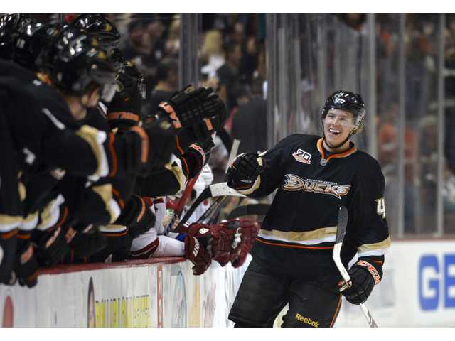 Anaheim Ducks defenseman Hampus Lindholm, of Sweden, celebrates his goal with teammates during the first period.