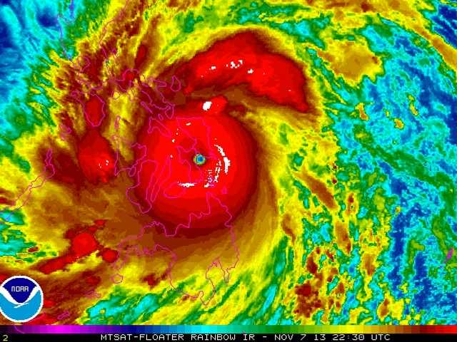 Typhoon Haiyan, the world's strongest typhoon of the year, slammed into the Philippines. It had been poised to be the strongest tropical cyclone ever recorded.