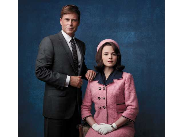 "This image released by National Geographic Channels shows Rob Lowe as President John F. Kennedy, left, and Ginnifer Goodwin as Jackie Kennedy in ""Killing Kennedy."""