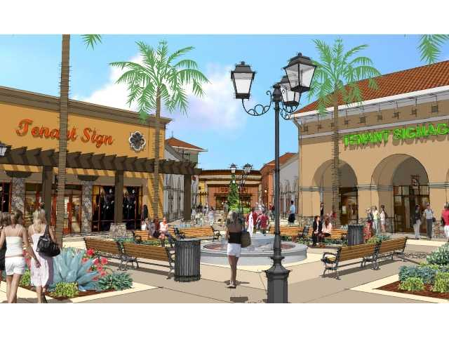 An artist's rendering of the courtyard at the Outlets at Tejon Ranch, now under construction north of the Grapevine on Interstate 5. Courtesy art