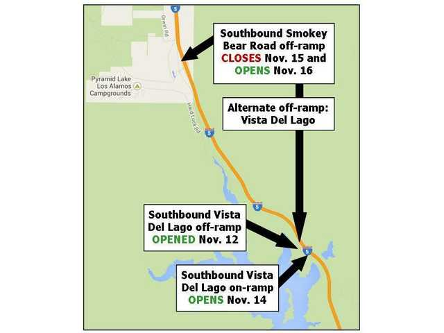 I-5 ramp openings and closures in north Los Angeles County