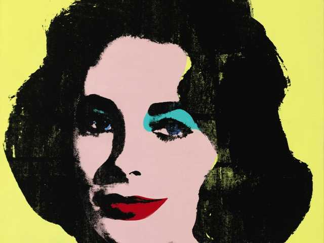 This undated photo provided by Sotheby's shows Andy Warhol's portrait of Elizabeth Taylor estimated to fetch between $20 million and $30 million at an auction on Wednesday.