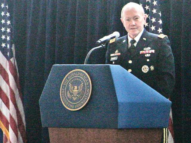 Chariman of the Joint Chiefs Martin Dempsey speaks at the Reagan Library on Saturday.