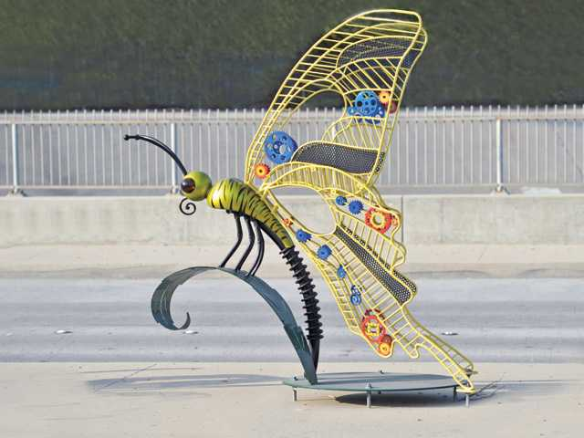 "Sculpture entitled ""Western Tiger Swallowtail"" on center median of Bouquet Canyon Road in Saugus."