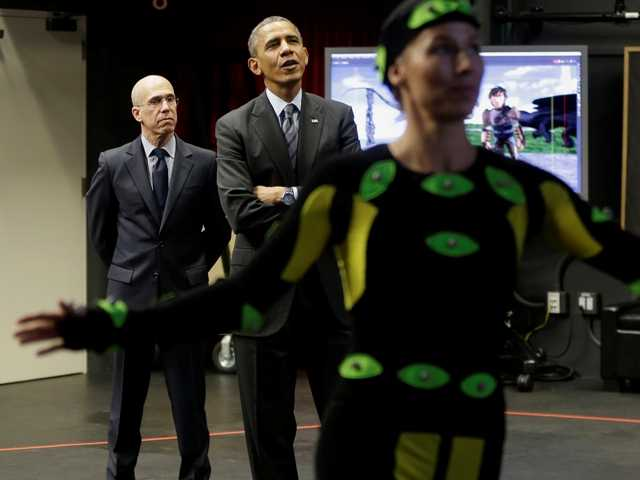 At Calif. studio, Obama gets taste of movie magic