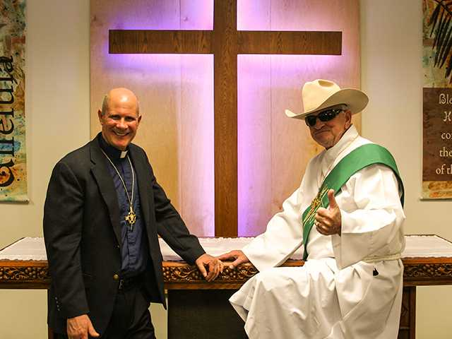 Pastor Tom Cizmar, left, and Deacon Barry Beckett at the Prince of Peace Lutheran Church. The church opened doors to their new facility on Nov. 17.