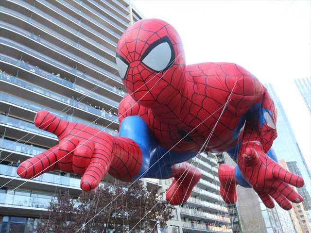 The Spiderman balloon makes it way across New York's Central Park South during the Macy's Thanksgiving Day Parade on Thursday.