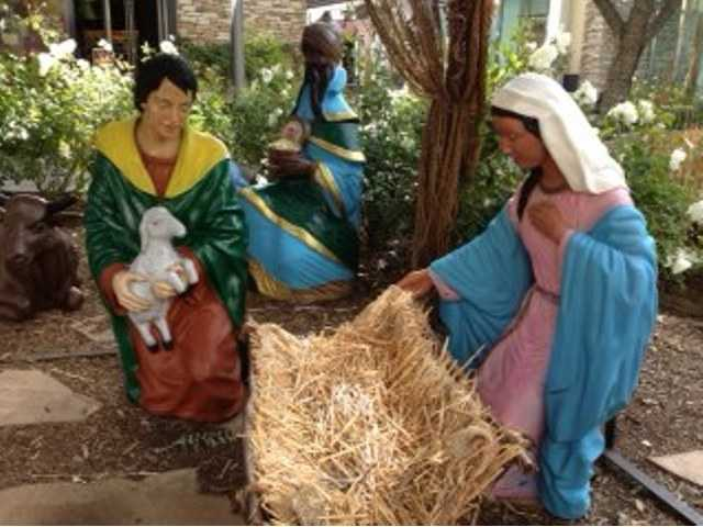 The nativity scene at Westfield Valencia Town Center shows Mary and Joseph with an empty manger since thieves made off with the baby Jesus. Signal photo by Jim Holt