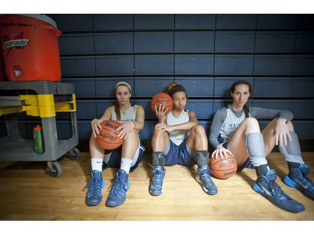 The Master's College returning starters, from left, Zoe Scott, Whitney Best and Jacquelyn Marshall.