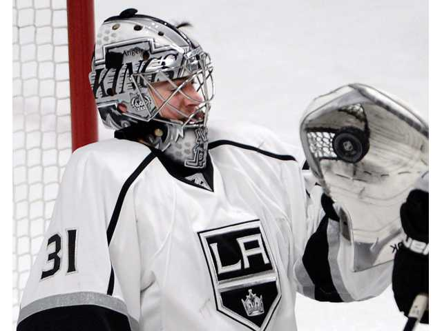 Montreal Canadiens goalie Peter Budaj (30) lets in a goal against the Los Angeles Kings in Montreal on Tuesday.