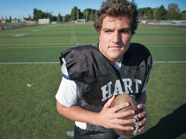 Hart senior Erik Stafford has started three years on the offensive line and he's played nearly every position on the line through the years.