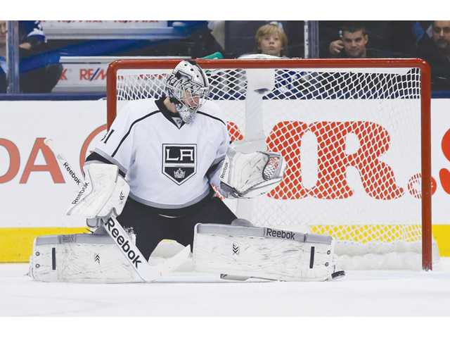 Los Angeles Kings goalie Martin Jones makes a save against the Toronto Maple Leafs in Toronto on Wednesday.